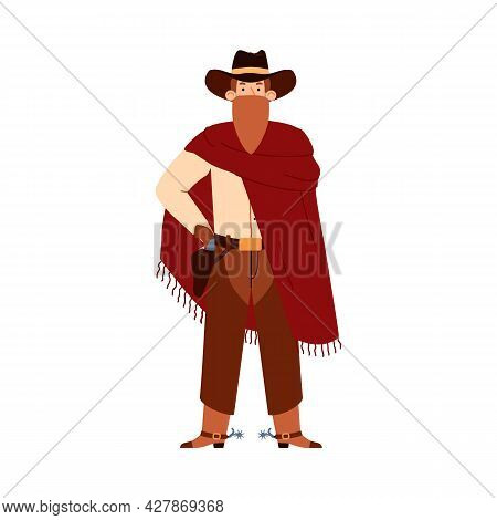Cowboy Or Western Bandit, Gangster In Bandana Flat Vector Illustration Isolated.