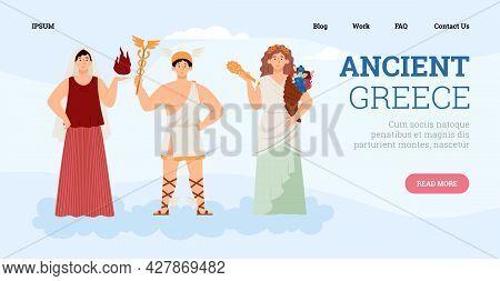 Olympian God And Goddesses Ancient Greek Mythology - Hermes, Demeter And Hestia.