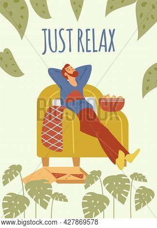 Male Is Resting On Chair With Pizza And Chips. Vector Illustration Of Bearded Man In Flat Style With