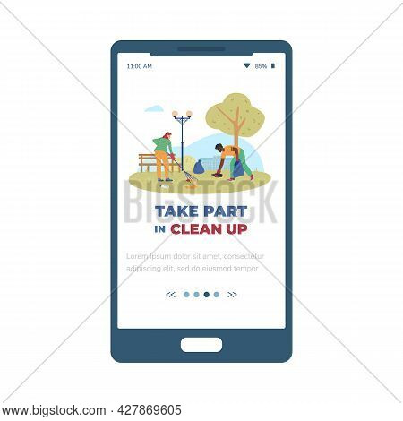 Voluntary Clean Up Event Advertising For Mobile Page, Flat Vector Illustration.