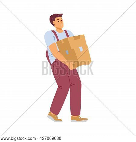 Worker Of Delivery Company Carry Heavy Cardboard Box A Vector Illustration.