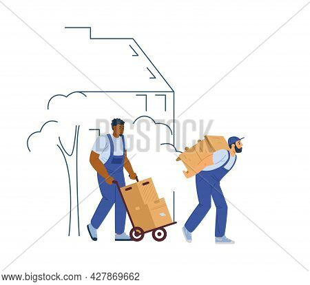 Loaders Or Movers Men Carrying Furniture, Flat Vector Illustration Isolated.