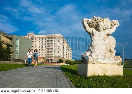 Science city Koltsovo, Russia - 24 July, 2021: Sculpture Centaur in white marble in Work settlement of Koltsovo near Novosibirsk, Summer in small russian town in Siberia