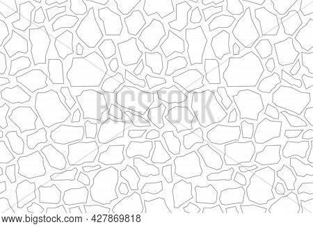 Paving Stone Coating For Fillings. Terrazzo Flooring Vector White Seamless Pattern. Trencadis Textur