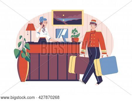 Happy Hotel Porter And Receptionist Are Waiting At Counter In Lobby.