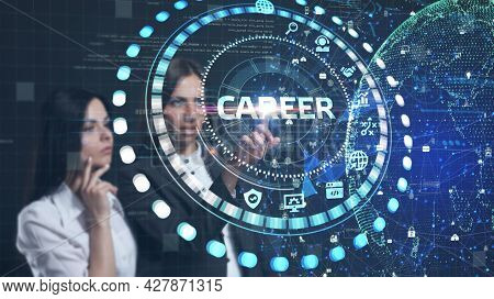 Coach Motivate To Career Growth. Personal Development, Personal And Career Growth. Potential Concept
