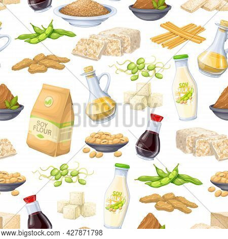 Soy Product Seamless Pattern, Vector Illustration. Background With Soy Sprouts, Tofu Skin, Coagulate