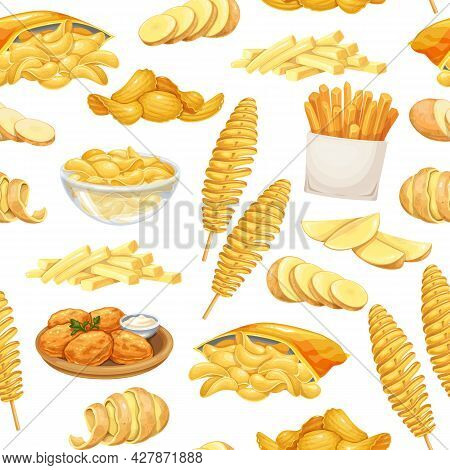 Potato Products Seamless Pattern, Vector Illustration. Background With Chips, Pancakes, French Fries