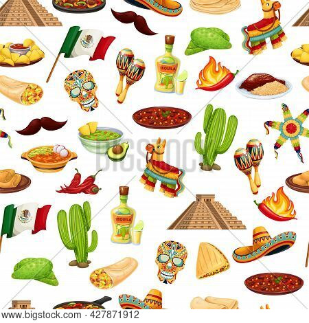 Mexico Carnival Cinco De Mayo Seamless Pattern, Vector Illustration. Background With Mexican Cuisine
