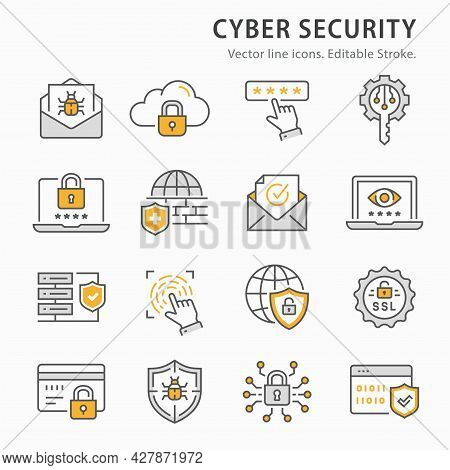 Cyber Security Icon Set. Collection Of Antivirus Firewall, Verification, Digital Key And More. Vecto
