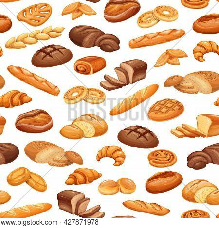 French Bread Bakery Product Seamless Pattern, Colored Vector Background. Bake Roll, Pastry And Slice