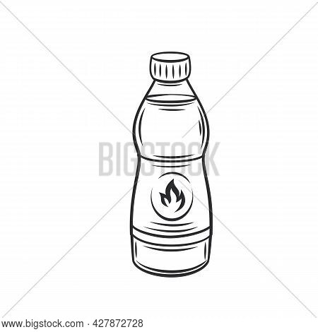 Ignition Fluid Bottle For Firewood Or Coals Outline Vector Icon, Drawing Monochrome Illustration.