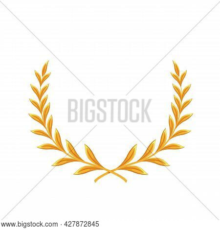Golden Laurel. First Place Winner, Golden Award, Laurus. Isolated Vector Icon Of Golden Triumph Firs