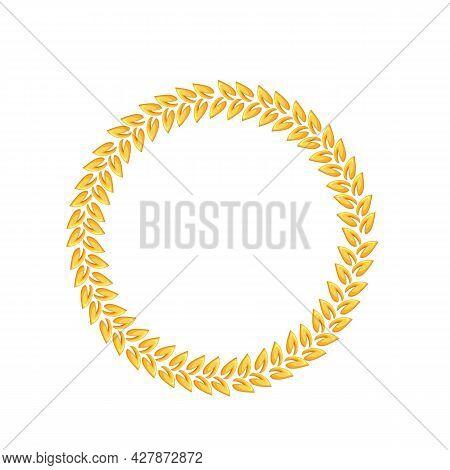 Golden Laurel. First Place Winner, Golden Award, Laurus. Isolated Vector Frame Of Golden Triumph Fir