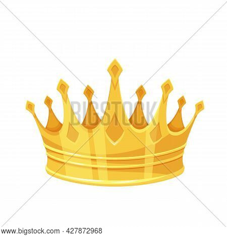 Golden Crown. First Place Winner, Royal Golden Jewelry And Wealth. Isolated Vector Icon Of Golden Tr