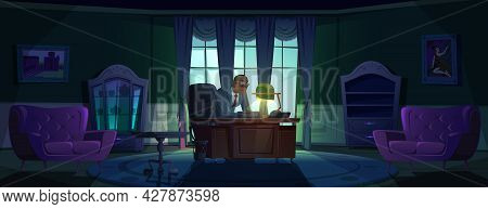 Principal In Night Office, Headmaster Or Government Person Sitting At Desk In Dark Room With Luxury