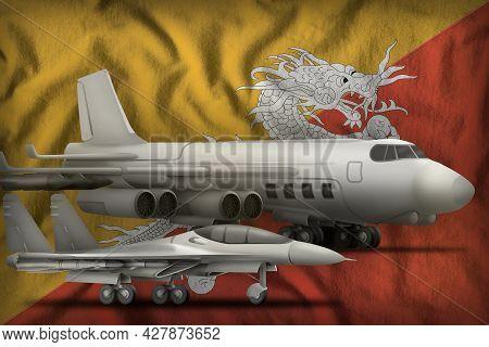 Air Forces On The Bhutan Flag Background. Bhutan Air Forces Concept. 3d Illustration