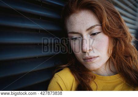 One Girl Feeling Sadness And Negative Feelings Portrait