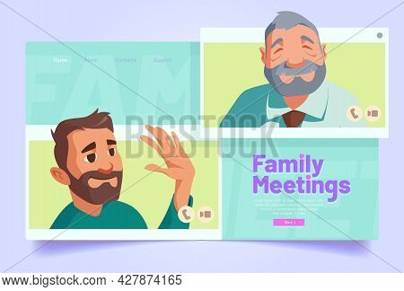 Family Meetings Banner. Virtual Communication, Online Conference Concept. Vector Landing Page Of Vid