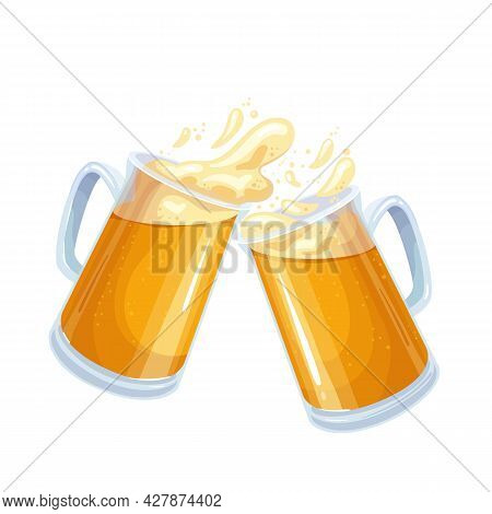 Two Glasses Toasting Mugs With Beer, Cheers Beer Glasses. Traditional Drink Of Beer Festival Oktober