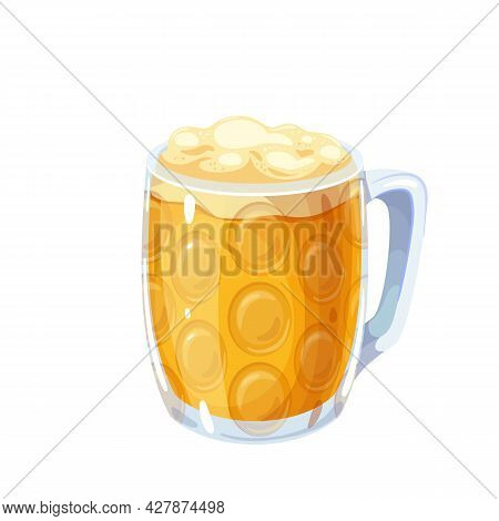 Glass Full With Blond Beer With Beer Foam. Oktoberfest. Mug Masskrug, Alcohol Traditional Drink Of B