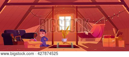 Child On Attic, Little Boy Found Old Toys In Box At Mansard Room. Baby At Roof Garret With Window, B