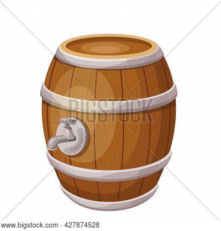Wooden Barrel With Alcohol. Beer Festival. Oktoberfest. Horizontal Cask. Isolated Vector Illustratio