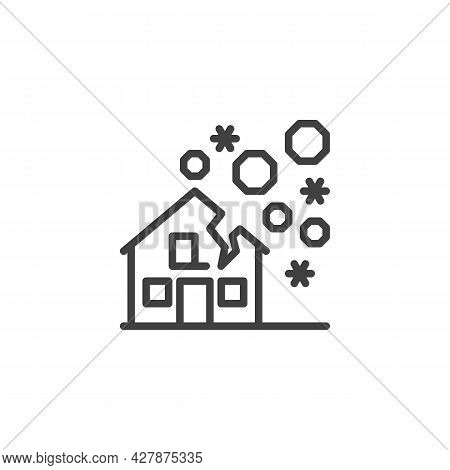 Hail Damage House Line Icon. Linear Style Sign For Mobile Concept And Web Design. Hail Disaster Outl