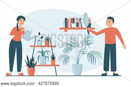 Illustration Of A Family Doing Daily Chores