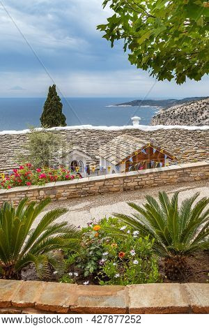 View Of Monastery Of Archangel Michael, Thassos Island, And Mount Athos Far Away, Greece