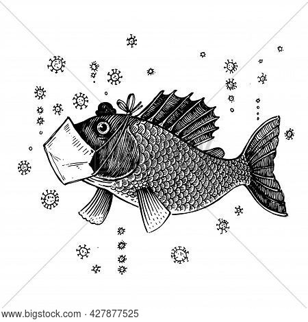Fish In An Antiviral Mask, Vector Illustration. Drawing With An Ink Pen And Pencil. Collection Of Fi