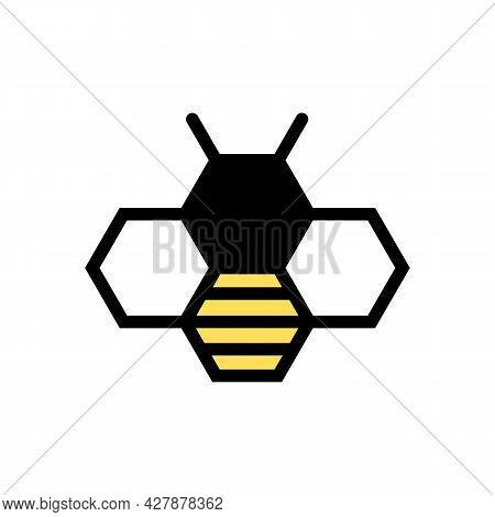 Creative Queen Bee Lines Icon. Bee Hexagon Logo. Vector Illustration.