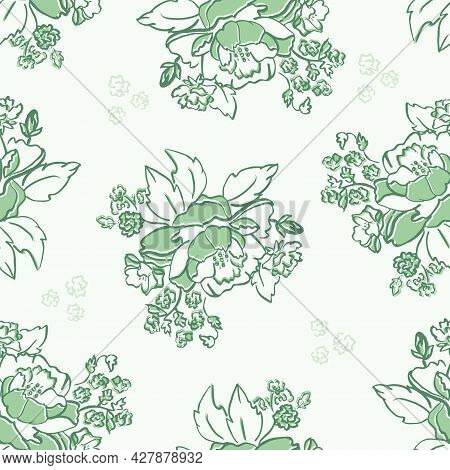 Vector Monochromatic Green Roses Lineart Roses Seamless Pattern Background. Perfect For Fabric, Wall