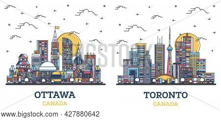 Outline Toronto and Ottawa Canada City Skyline Set with Colored Modern Buildings Isolated on White. Cityscape with Landmarks.