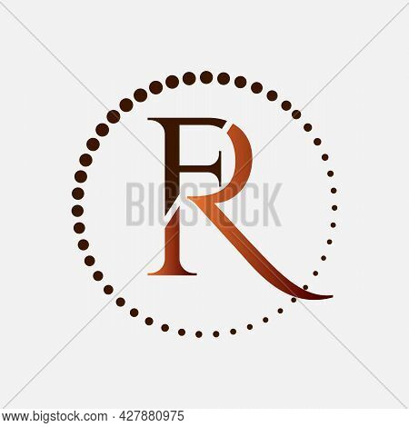R And F Logo Blended With Blue Gray Colors Graphic Concept Illustrations