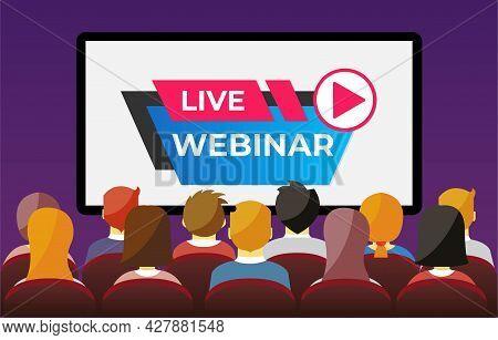People Watching Live Webinar. Digital Network Television Live Stream Entertainment Media Vector Vide