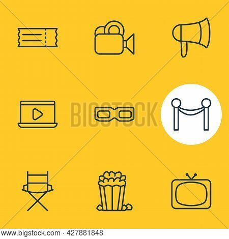 Vector Illustration Of 9 Film Icons Line Style. Editable Set Of Video, Bullhorn, Barrier Rope And Ot