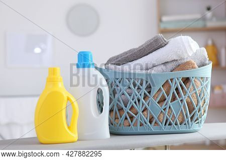 Clean Towels And Laundry Detergents In The Laundry Room