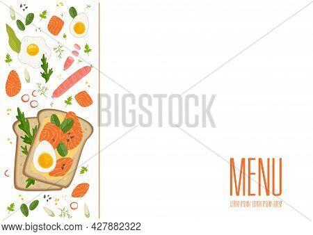 Frame Side View Of Breakfasts And Brunches. Breakfast Food Menu Design. Vintage Hand Drawn Sketch Ve