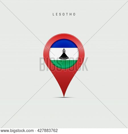 Teardrop Map Marker With Flag Of Lesotho. Kingdom Of Lesotho Flag Inserted In The Location Map Pin.