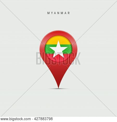 Teardrop Map Marker With Flag Of Myanmar. Burma Flag Inserted In The Location Map Pin. 3d Vector Ill