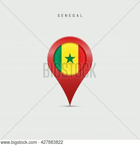 Teardrop Map Marker With Flag Of Senegal. Senegalese Flag Inserted In The Location Map Pin. 3d Vecto