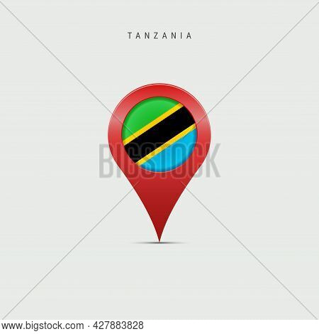 Teardrop Map Marker With Flag Of Tanzania. Tanzanian Flag Inserted In The Location Map Pin. 3d Vecto