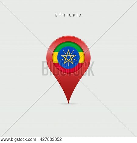 Teardrop Map Marker With Flag Of Ethiopia. Ethiopian Flag Inserted In The Location Map Pin. 3d Vecto