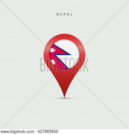 Teardrop Map Marker With Flag Of Nepal. Nepali Flag Inserted In The Location Map Pin. 3d Vector Illu