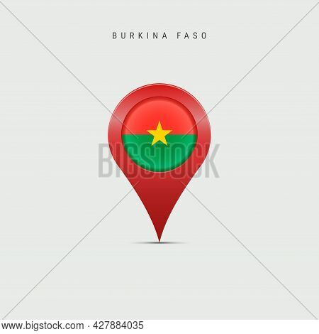 Teardrop Map Marker With Flag Of Burkina Faso. Upper Volta Flag Inserted In The Location Map Pin. 3d