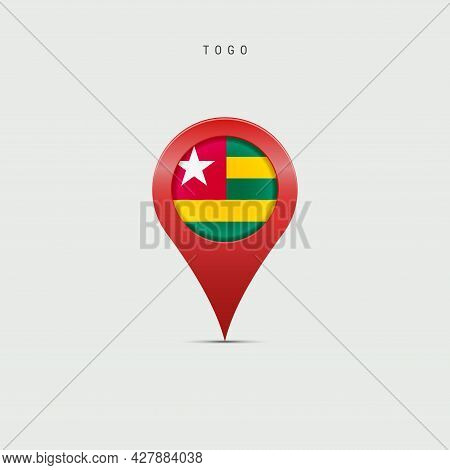 Teardrop Map Marker With Flag Of Togo. Togolese Republic Flag Inserted In The Location Map Pin. 3d V