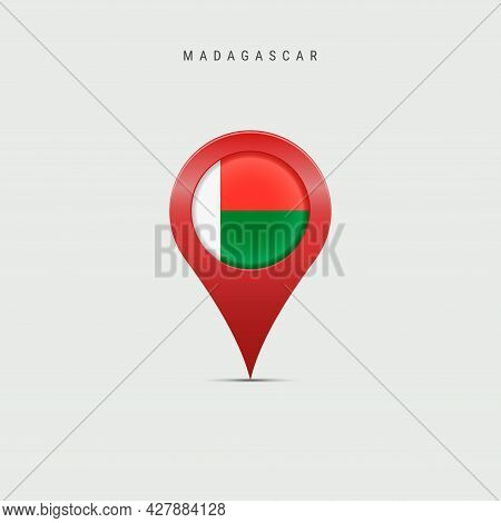 Teardrop Map Marker With Flag Of Madagascar. Republic Of Madagascar Flag Inserted In The Location Ma