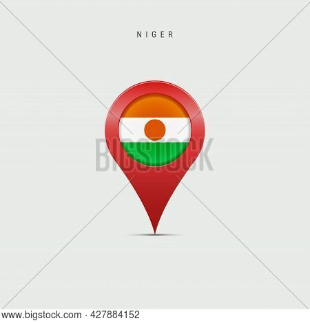 Teardrop Map Marker With Flag Of Niger. Nigerian Flag Inserted In The Location Map Pin. 3d Vector Il