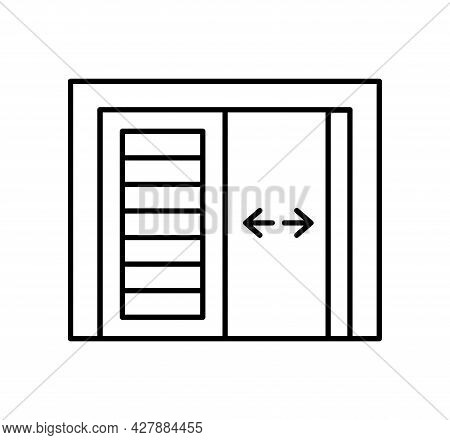 Side Hinged Vintage Garage Door. Black & White Vector Illustration. Line Icon Of Warehouse Gate. Sym